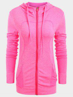 Zip Up Heathered Sporty Hoodie - Fluorescent Pink S