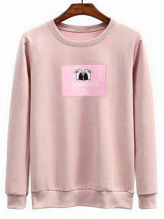 Eyes Graphic Crew Neck Sweatshirt - Pink