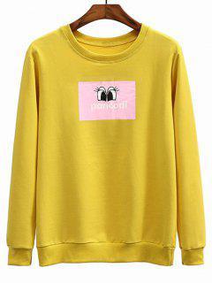Eyes Graphic Crew Neck Sweatshirt - Mustard