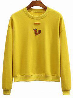 Crew Neck Kangaroo Embroidered Sweatshirt - Mustard