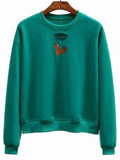 Crew Neck Kangaroo Embroidered Sweatshirt - Green