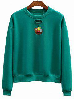 Ripped Embroidered Crew Neck Sweatshirt - Green