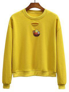 Ripped Besticktes Sweatshirt Mit Rundhalsausschnitt - Dunkel Gelb