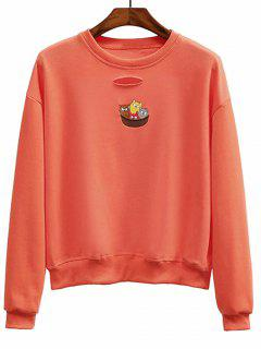 Ripped Embroidered Crew Neck Sweatshirt - Jacinth