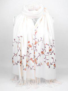 Soft Floral Embroidery Fringed Long Scarf - White