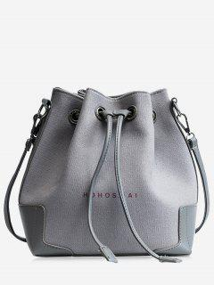 Canvas Drawstring Letter Crossbody Bag - Gray