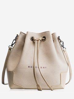Canvas Drawstring Letter Crossbody Bag - Khaki