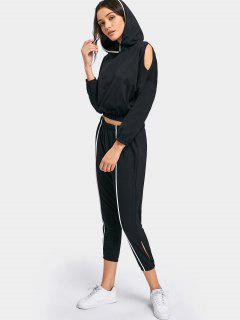 Contrasting Cold Shoulder Hoodie And Cut Out Jogger Pants - Black M