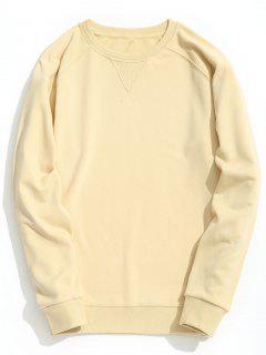 Slim Fit Rundhals-Sweatshirt - Hellgelb L