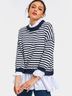 Patchwork Striped Longline Sweatshirt - Stripe