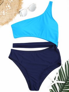 Two Tone One Shoulder One Piece Swimsuit - Blue M