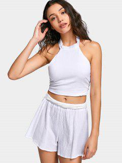 Bowknot Backless Tank Top And Wide Legged Shorts - White S