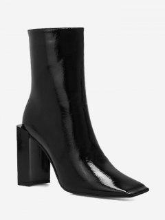 Square Toe Chunky Heel Boots - Black 35