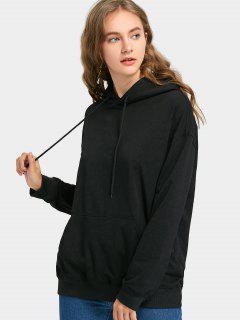 Pocket Drawstring Oversized Hoodie - Black S
