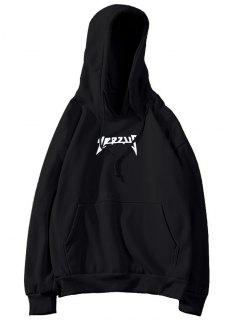 Fleece Kangaroo Pocket Graphic Mens Hoodie - Black L
