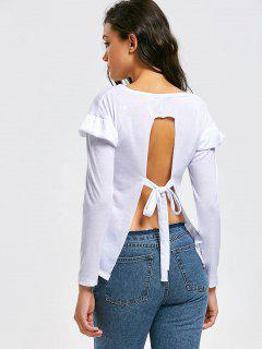 Ruffled Self Tie Bowknot Open Back Tee - White S