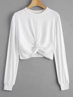 Heathered Cropped Twist Sweatshirt - Weiß S