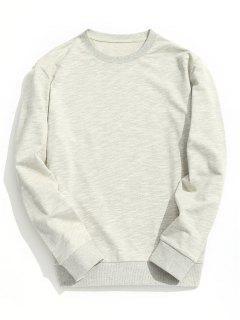 Patch Design Crew Neck Sweatshirt - Light Gray L