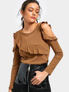 T-Shirt Mit Kalte Schulter Und Rüschen Saum  - Braun S
