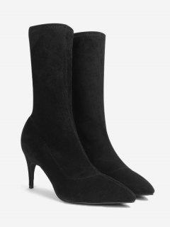 Stiletto Heel Pointed Toe Mid Calf Boots - Black 35