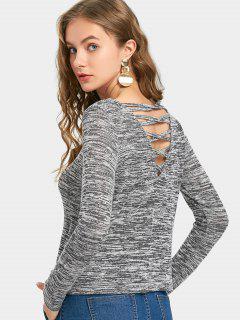 Heathered Criss Cross Pullover Sweater - Gris S