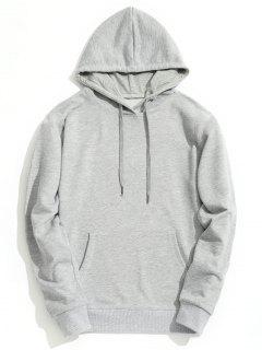 Kangaroo Pocket Plain Hoodie - Gray Xl