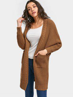 Open Front Cable Knit Chunky Cardigan - Brown