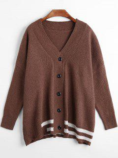 Stripe Edge Button Up Drop Shoulder Cardigan - Coffee
