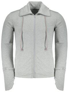 Drawstring Zip Up Hoodie With Pockets - Gray S
