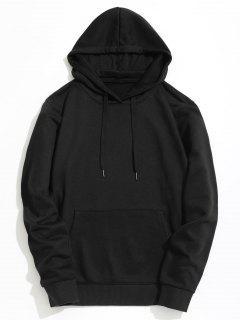 Kangaroo Pocket Plain Hoodie - Black L