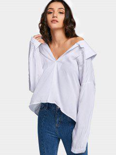 Übergröße Cut Out Schulterfreie Bluse - Weiß M