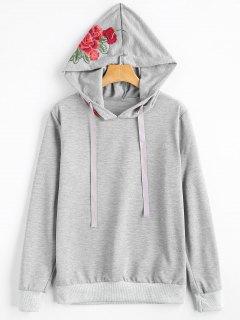 Flower Appliqued Drawstring Hoodie - Light Gray Xl