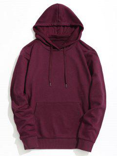 Kangaroo Pocket Plain Hoodie - Burgundy Xl