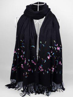 Soft Floral Embroidery Fringed Long Scarf - Black