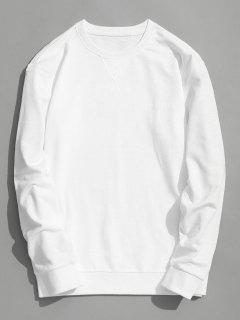 Slim Fit Rundhals-Sweatshirt - Weiß L