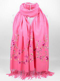 Soft Floral Embroidery Fringed Long Scarf - Watermelon Red