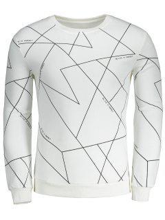 Sweat-shirt Géométrique à Lettre à Col Rond - Blanc L