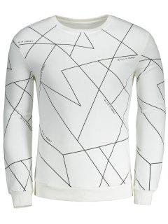Geometric Letter Crew Neck Sweatshirt - Weiß S