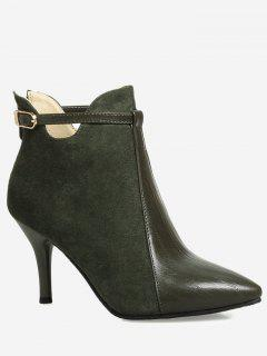 Buckle Strap Pointed Toe Ankle Boots - Army Green 36