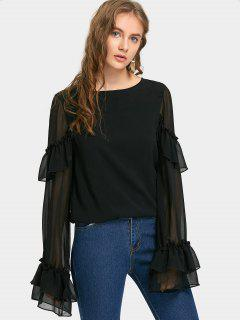 Chiffon Flare Sleeve Flounces Blouse - Black M