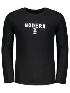 Letter Print Crew Neck T-shirt - Black M