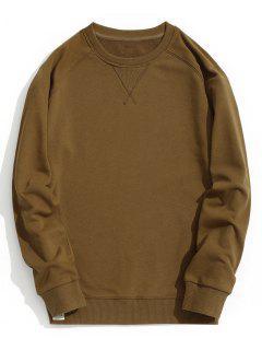 Slim Fit Crew Neck Sweatshirt - Brown L