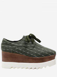 Square Toe Plaid Platform Shoes - Green 36