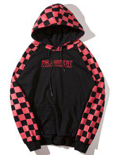 Grid Letter Embroidered Hoodie - Red M