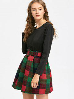 Belted Checked Long Sleeve Dress - Black Xl