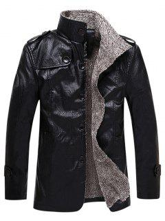 Faux Leather Plush Lining Jacket - Black M