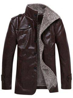 Faux Leather Plush Lining Jacket - Coffee Xl