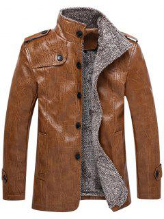 Faux Leather Plush Lining Jacket - Light Brown Xl