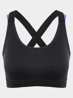 Mid Impact Cross Back Sporty Bra - Black S