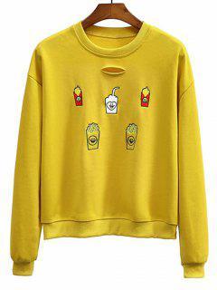 Embroidered Distressed Crew Neck Sweatshirt - Mustard